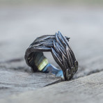 Feathers Ruthenium Plated Ring // Black (8)