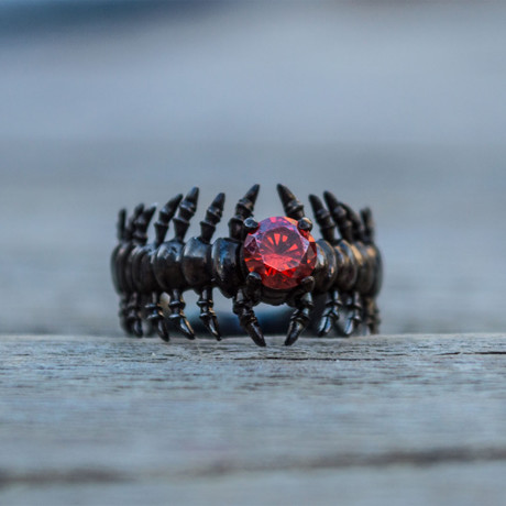 Black Series // Bone Ring + Red Cubic Zirconia (5)