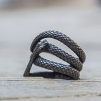 Snake Ruthenium Plated Ring // Black (10)