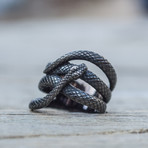 Snake Ruthenium Plated Ring // Black (13)