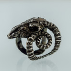 Ram Skull 2 Ruthenium Plated Ring // Black (12)