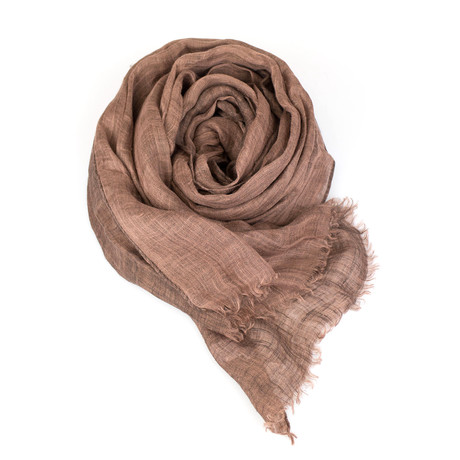 Brunello Cucinelli // Women's Linen Scarf Wrap // Brown