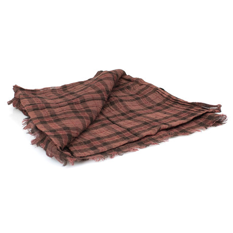 Brunello Cucinelli // Women's Plaid Cashmere Blend Scarf Wrap // Brown