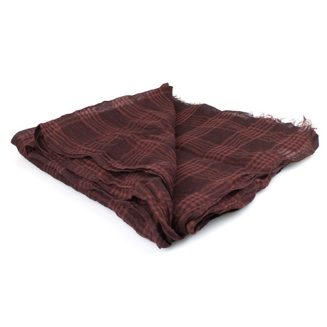 Brunello Cucinelli // Women's Plaid Cashmere Blend Scarf Wrap // Brown + Red