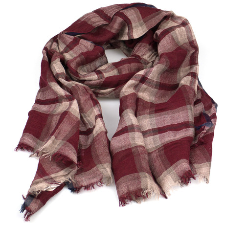 Brunello Cucinelli // Unisex Cashmere Blend Scarf Wrap // Red + Brown