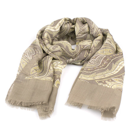 Cesare Attolini Napoli // Unisex Paisley Pattern Cashmere Blend Scarf // Brown