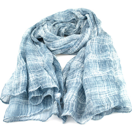 Brunello Cucinelli // Unisex Plaid Linen Scarf Wrap // Blue