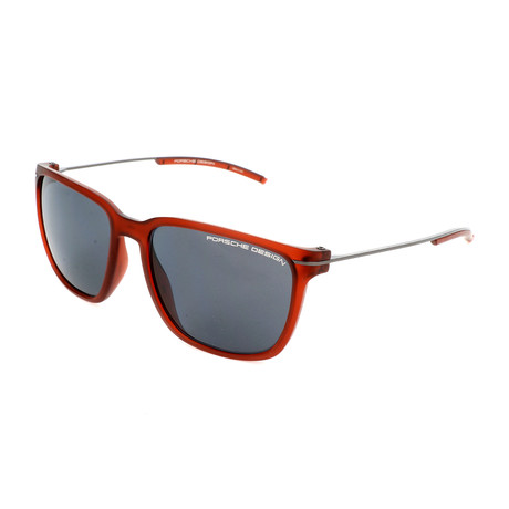 Unisex P8637 Sunglasses // Transparent Red + Gray Blue