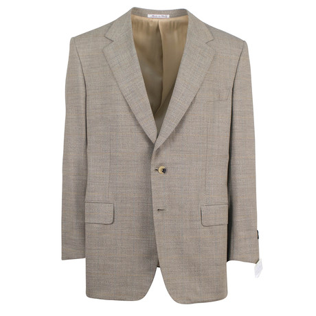 D'Avenza // Windowpane Wool 2 Button Sport Coat // Brown (US: 48R)