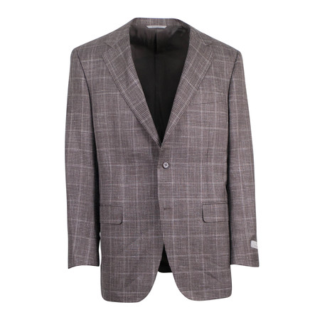 Canali // Glen Plaid Wool Blend 2 Button Sport Coat // Brown (US: 48R)
