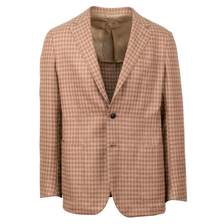 Caruso // Check Hair 3 Roll 2 Button Sport Coat // Tan (US: 48R)