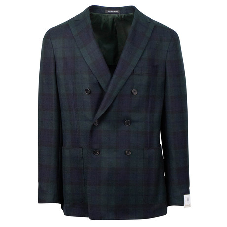 Caruso // Plaid Cashmere Double Breasted Sport Coat // Blue (US: 48R)