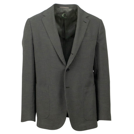Caruso // Textured Cotton Blend 3 Roll 2 Button Sport Coat // Green (US: 48R)
