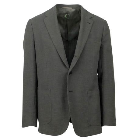 Textured Cotton Blend 3 Roll 2 Button Sport Coat // Green (US: 48R)