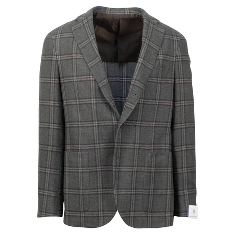 Caruso // Plaid Wool Blend 3 Roll 2 Button Sport Coat // Green (US: 48R)