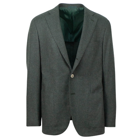 Wool Blend 3 Roll 2 Button Sport Coat V1 // Green (US: 48R)