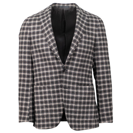 Plaid Wool 3 Roll 2 Button Sport Coat // Brown (US: 46R)