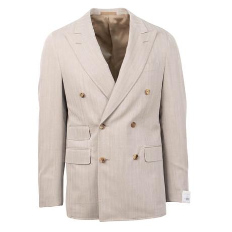 Wool Herringbone Double Breasted Sport Coat // Beige (US: 48R)