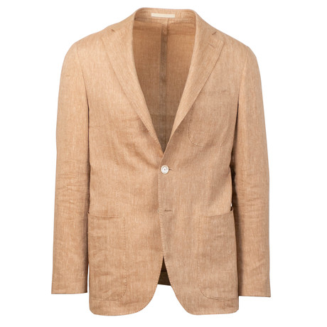 Caruso // Linen Blend 3 Roll 2 Button Sport Coat // Rust (US: 48R)