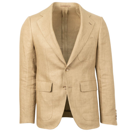 Caruso // Linen 2 Button Sport Coat // Camel (US: 46R)