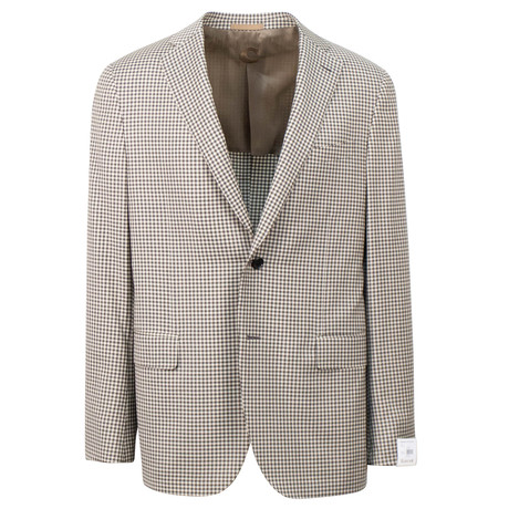 Caruso // Check Wool 2 Button Sport Coat // Beige (US: 48R)