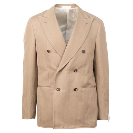 Double Breasted Herringbone Cotton Sport Coat // Brown (US: 48R)