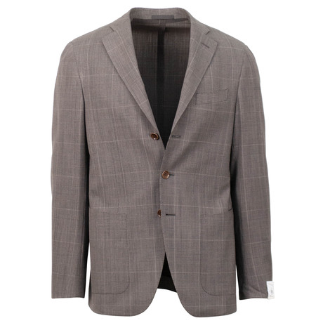 Caruso // Plaid Wool 3 Button Sport Coat // Brown (US: 48R)