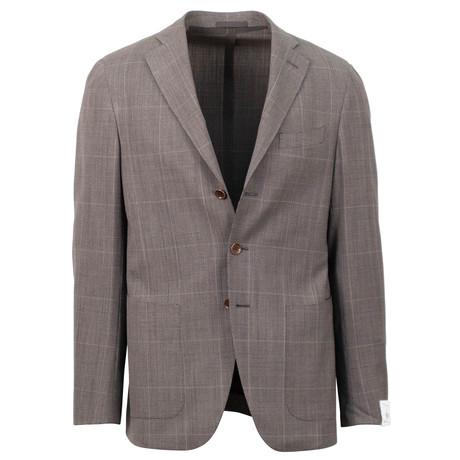 Plaid Wool 3 Button Sport Coat // Brown (US: 48R)