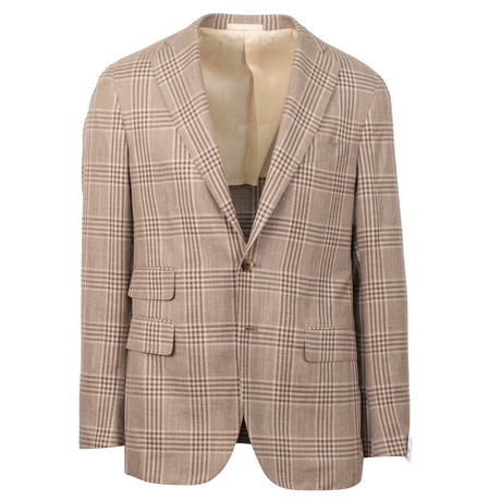 Caruso // Plaid Wool Blend 2 Button Sport Coat // Brown (US: 48R)