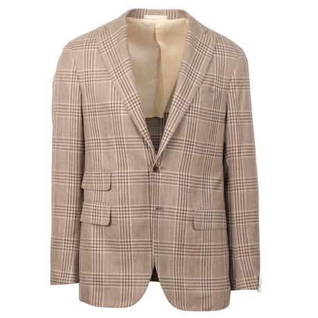 Plaid Wool Blend 2 Button Sport Coat // Brown (US: 48R)