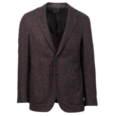 Caruso // Tweed Wool 2 Button Sport Coat // Purple (US: 48R)