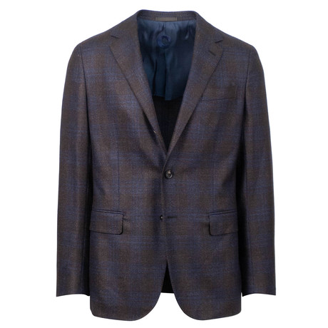 Caruso // Plaid Wool Blend 2 Button Sport Coat // Purple (US: 48R)