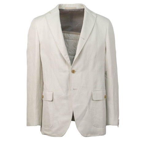 Caruso // Cotton Blend 2 Button Sport Coat // Beige (US: 48R)
