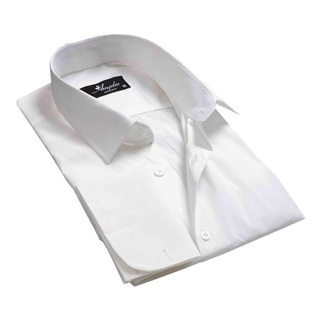 Reversible Cuff French Cuff Shirt // Solid White (S)