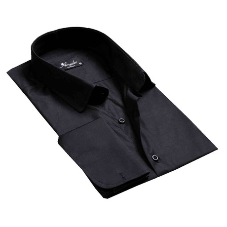 Reversible Cuff French Cuff Shirt // Solid Black (S)