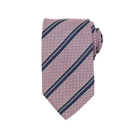 Ermenegildo Zegna // Striped Woven Silk Tie // Pink