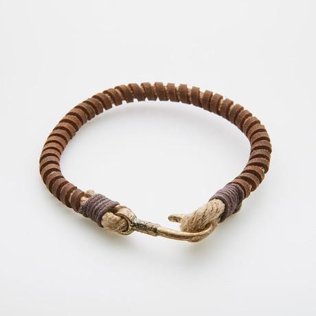 Fish Hook Leather // Wide Wrap Bracelet