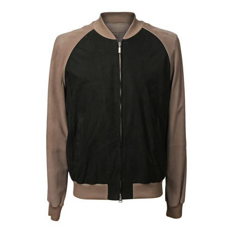 Two Tone Leather + Suede Bomber Jacket // Gray + Brown (XS)