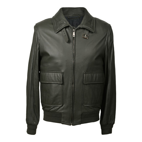 Leather Biker Jacket // Olive (XS)