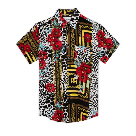 Floral + Chains Woven Shirt // Red + Yellow (S)