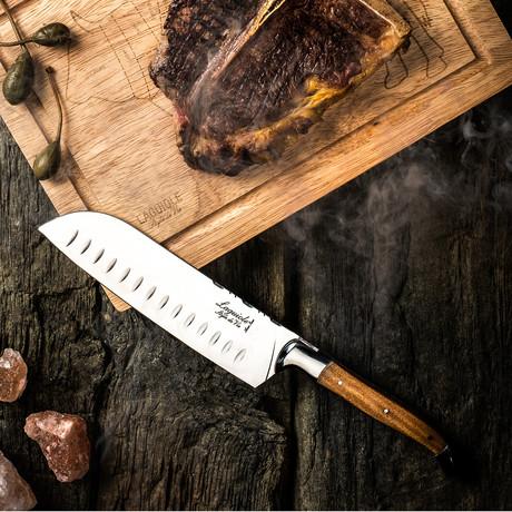 Santoku Knife + Wooden Cutting Board