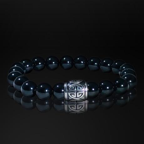 Lava Rock + Stainless Steel Power Sign Bracelet // Black