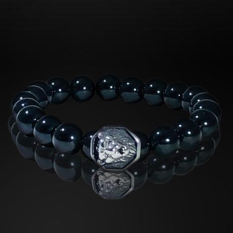 Lava Rock + Stainless Steel Lion King Bracelet // Black