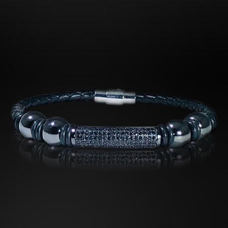 Hematite + Black Crystal + Hand Woven Leather Bracelet // Black