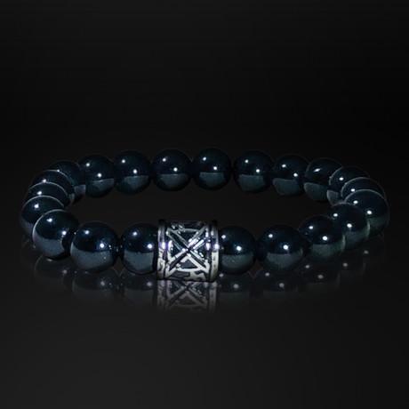 Lava Rock + Stainless Steel X Sign Bracelet // Black
