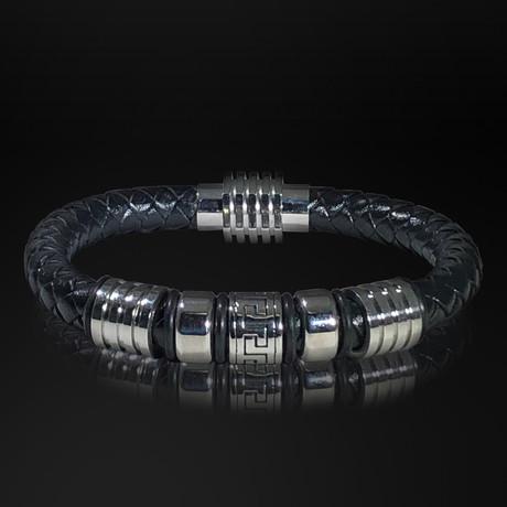 Stainless Steel Greek Power + Hand Woven Leather Bracelet // Black