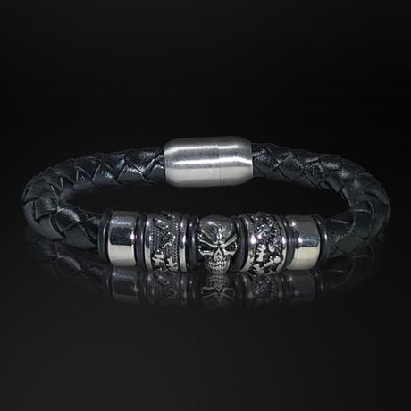Stainless Steel Double Ring + Skull + Hand Woven Leather Bracelet // Black