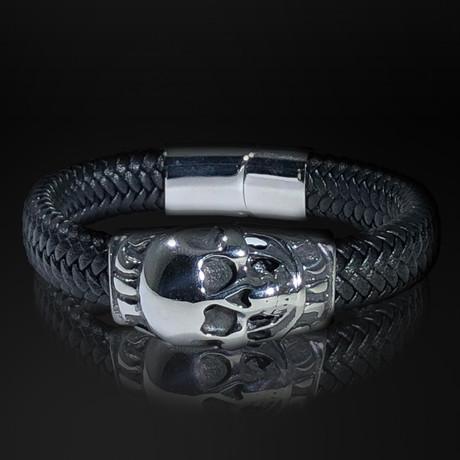 Stainless Steel Skull Shield + Hand Woven Leather Bracelet // Black