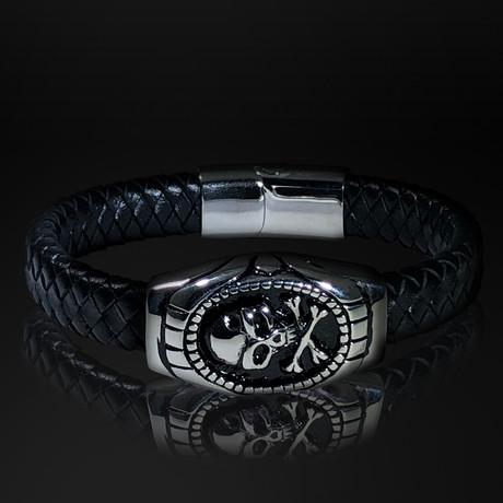 Stainless Steel Skull and Bones + Hand Woven Leather Bracelet // Black