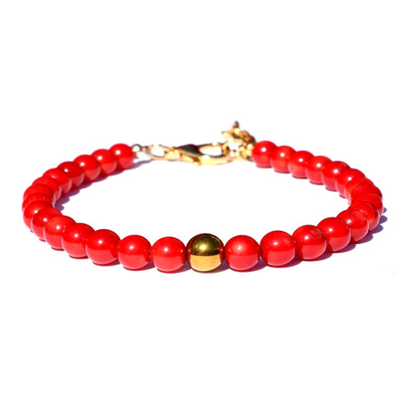 Fireball Beaded Bracelet // Red